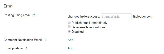 Blogger Emails settings